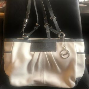 Coach Authentic White and Gray Leather Purse